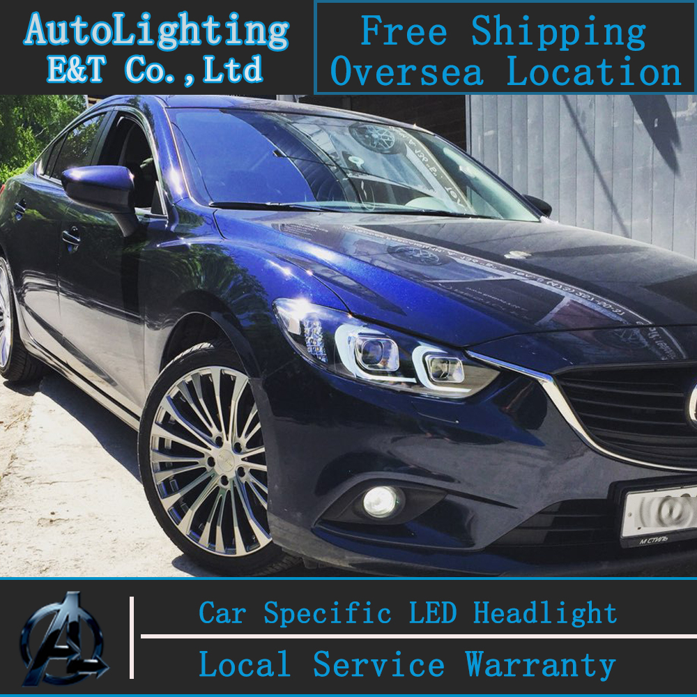 Car styling LED Head Lamp for Mazda 6 led headlights 2015 new Mazda6 headlight led drl H7 hid Q5 Bi-Xenon Lens low beam