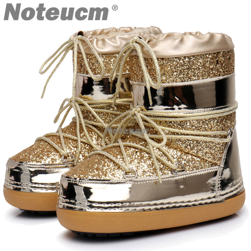 women s winter ankle platform Golden glitter sequin snow boots shoe with faux  fur hair boat for 925568b7afe6