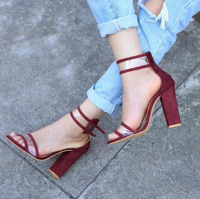955e000ecd2 Fancy Line Buckle Style Golden Patent Leather Chunky Heel Sandals Sexy Open  Toe Clear Band BlockHeel Dress Sandals PatchworHeels