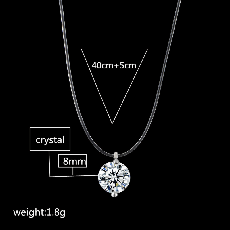 2019 New Fashion Crystal Clavicle Chain Necklace Pendant Transparent Fishing Line Invisible Necklace Jewelry in Chain Necklaces from Jewelry Accessories