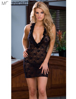 Women Sexy Lingerie Deep V Transparent Sleepwear Sexy Dress Full Lace Lingerie Erotic Costumes Underwear Black