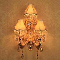 Прихожая 3 Огни большого золото Настенные светильники arandela деревенском стиле винтаж лампа КТВ Village hotel Ресторан Золотая рыбка абажур настен