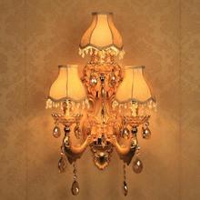 Hallway 3 lights large Gold wall lamps Arandela Rustic vintage Lamp KTV Village Hotel Restaurant golden fish lampshade Wall Lamp