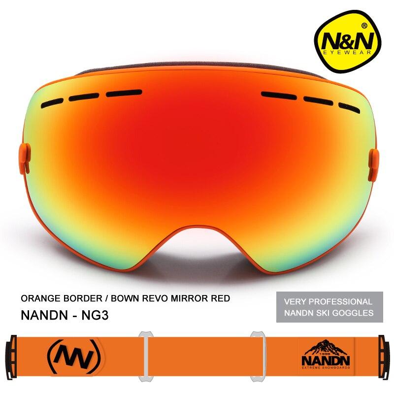 NANDN двойной Слои многоцветный Анти туман наружные спортивные очки с большими для мотокросса и лыж для катания на сноуборде профессиональны... - 3