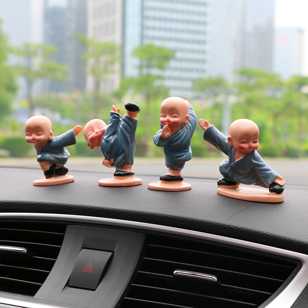 Toddler Car Dashboard Us 11 99 30 Off Car Ornaments 4pcs Set 4 Lovely Kung Fu Monks Maitreya Buddha Figure Doll Gift Cute Automobile Dashboard Decoration Accessories In
