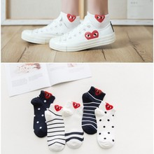 1 Pair Women Red Heart Cute College Wind Simple Basic Funny Female Socks Warm Comfortable Cotton Spring and Summer Harajuku Sock