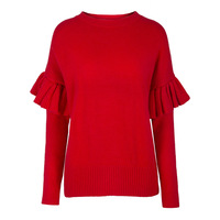 Sisjuly 2018 Autumn Women Sweater Fashion Red Ruffles Patchwork Long Sleeve Winter Ladies Casual Bohomian Knitwear