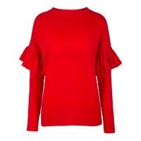 Sisjuly 2018 Autumn Women Sweater Fashion Red Ruffles Patchwork Long Sleeve Winter Ladies Casual Bohomian Knitwear