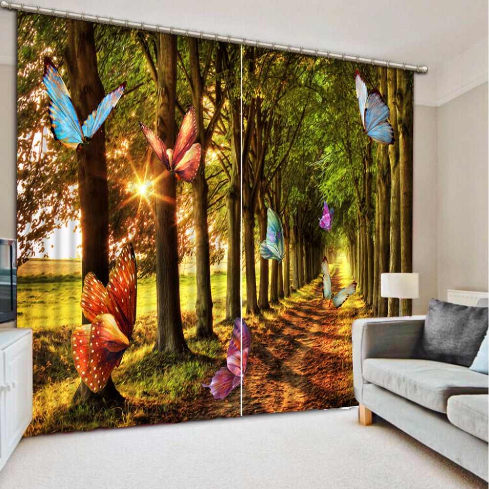 Butterfly Curtains For The Girls Room Beautiful Sheer Curtains For The Bedroom Forest Landscape 3D Home Curtains