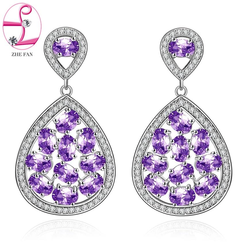 ZHE FAN Women Piercing Dangle Earrings AAA CZ Cubic Zirconia Micro Pave Water Drop Earring Jewelry Purple Green Royal Blue