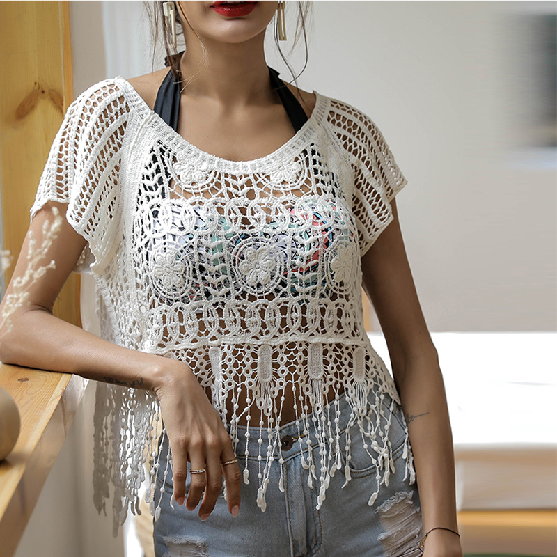 Inventive Women Summer Tassel Holloe Out Blouse Shirt Female Lace Crochet Shirt Casual Tops New 2019 Boho Beach Cover Shirt Sj2185v Fixing Prices According To Quality Of Products Women's Clothing