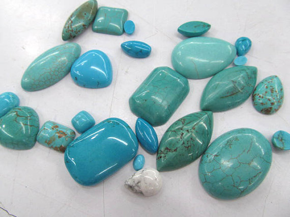 batch 4-20mm 100pcs high quality turquoise cabochons round oval drop square rectangle beads faux turquoise oval round sweater chain