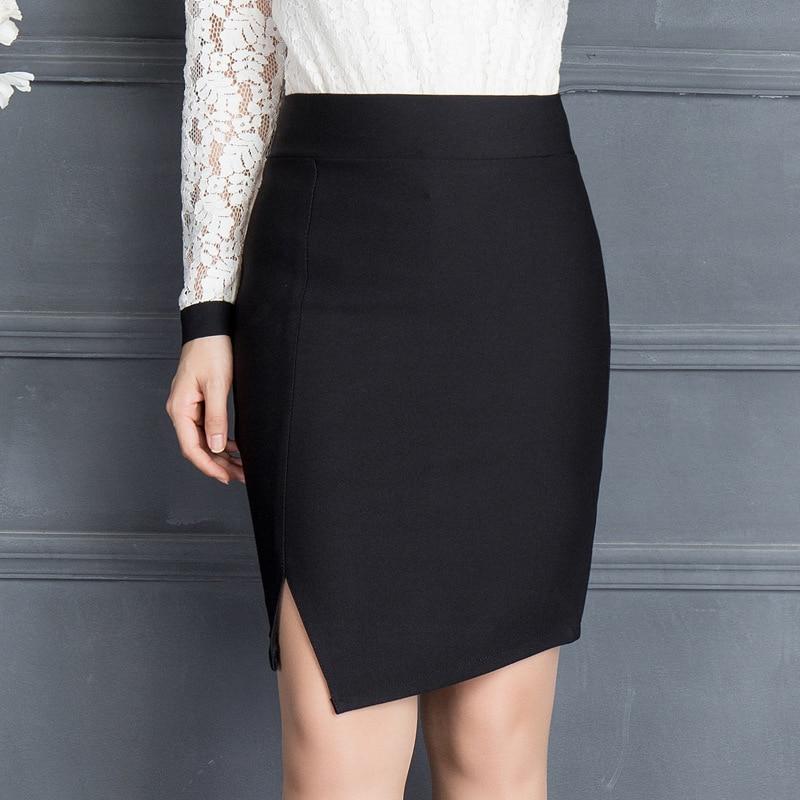 2017 Autumn & winter Women Office Mini Skirt Fashion Sexy Slim OL Split Elastic Package Hip Skirt Plus Size Black Pencil Skirt