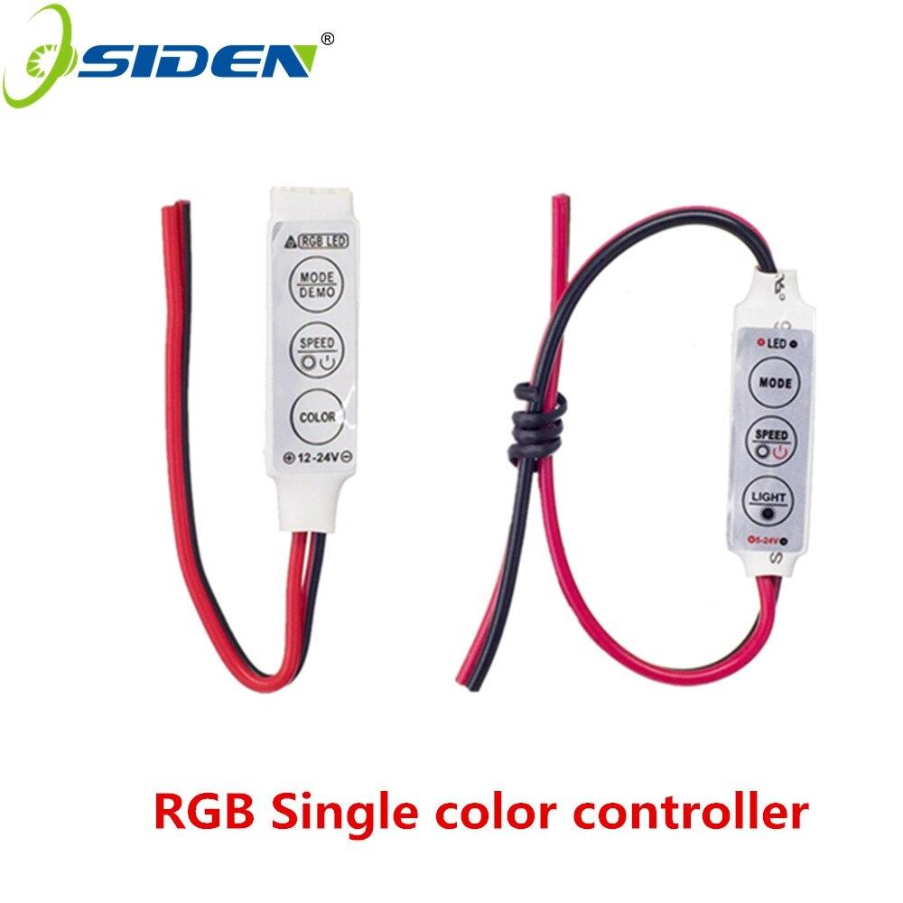 OSIDEN Strip Light 12V-24V Mini 3Keys Single Color RGB LED Controller Brightness Dimmer For Led 3528 5050 Car Light Controller