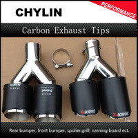 2PCS 63mm Inlet 89mm Outlet Stainless Steel Car Exhaust Tip Akrapovic Carbon Fiber Exhaust Muffler Dual