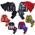 Algodón de los niños de dibujos animados capitán américa Iron Man spider Man pijamas del bebé niños de dormir Kids súper héroes + capa ropa set