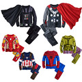 Children's Cotton Cartoon Captain America Iron Man spider-man Pajamas Baby Boys Sleepwear Kids Super Heros+Cloak clothes set