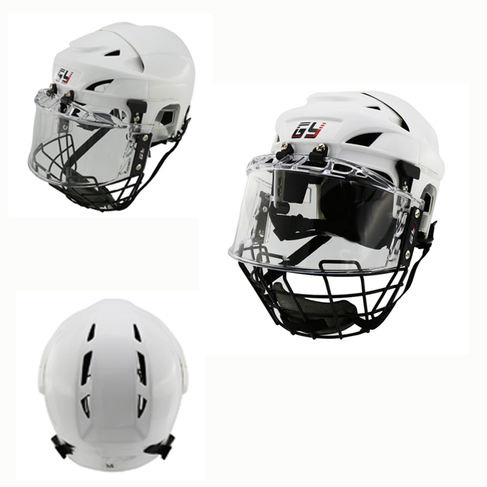 2017 New design Free shipping Ice Hockey Player Helmet Head Protector Hockey Helmet with A3 steel cage clear visor face shield free shipping high quality pp eva foam ice hockey helmet with black wire cage face mask