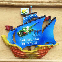 1PC new Mediterranean Sea Cyprus 3D Boat Shaped Fridge Magnets Travel Souvenirs Refrigerator Magnetic Sticker home decor(China)