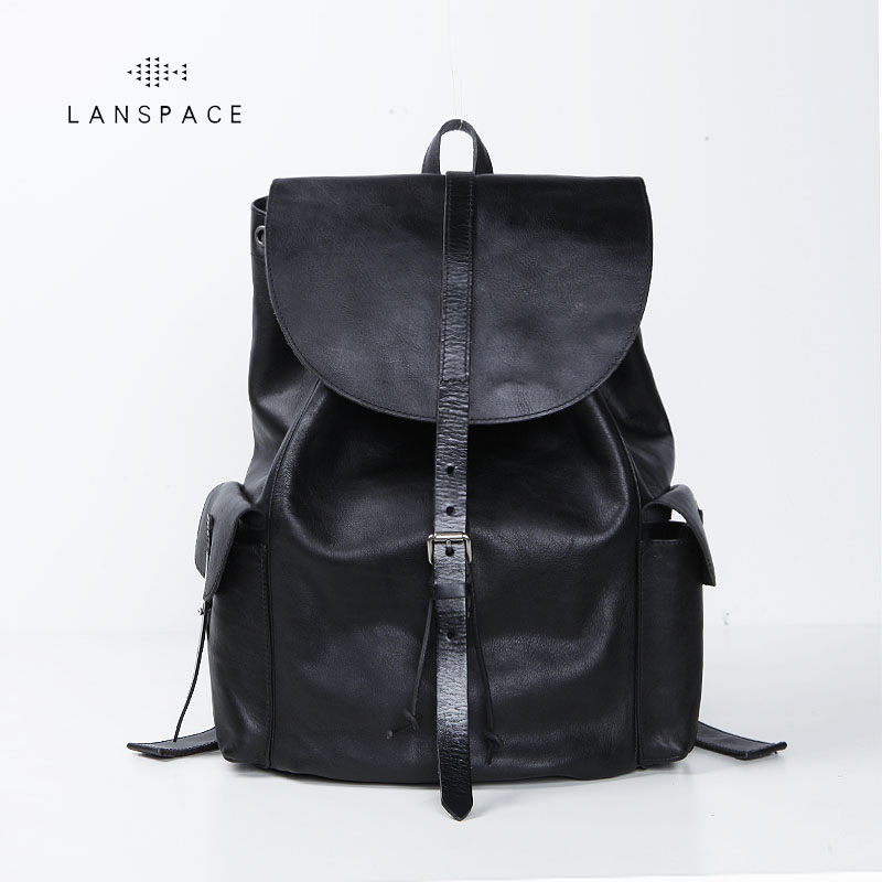 LANSPACE men's cow leather backpack fashion genuine leather backpack Japan men bag lanspace men s leather shoulder bag real leather waist bag fashion leather travel bag