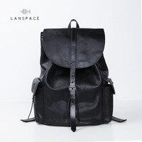 LANSPACE men's cow leather backpack fashion genuine leather backpack Japan men bag