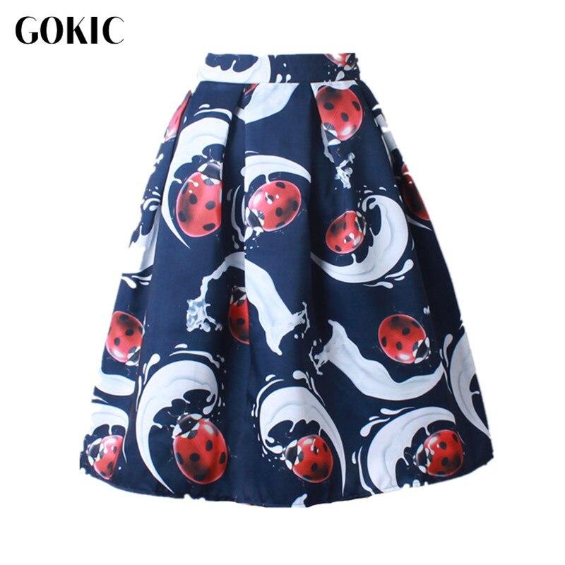 GOKIC Franchised Store Gokic 2017 новый одри хепберн стиль женские vintage божья коровка pattern плиссированные юбки высокой талией линии юбки 50-х годов миди-юбка