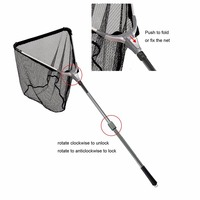 Aventik 150cm Triangular Folding Aluminum Carp Fishing Landing Net 2 Sections Extending Pole Handle Fishing Net