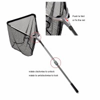 Aventik 150cm Triangular Folding Aluminum Carp Fishing Landing Net 2 Sections Extending Pole Handle Fishing Net