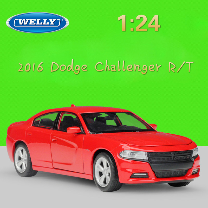 WELLY 1:24 Diecast Vehicles High Simulation Model Car 2016 Dodge Challenger R/T Metal Alloy Toy Car For Children Gift Collection