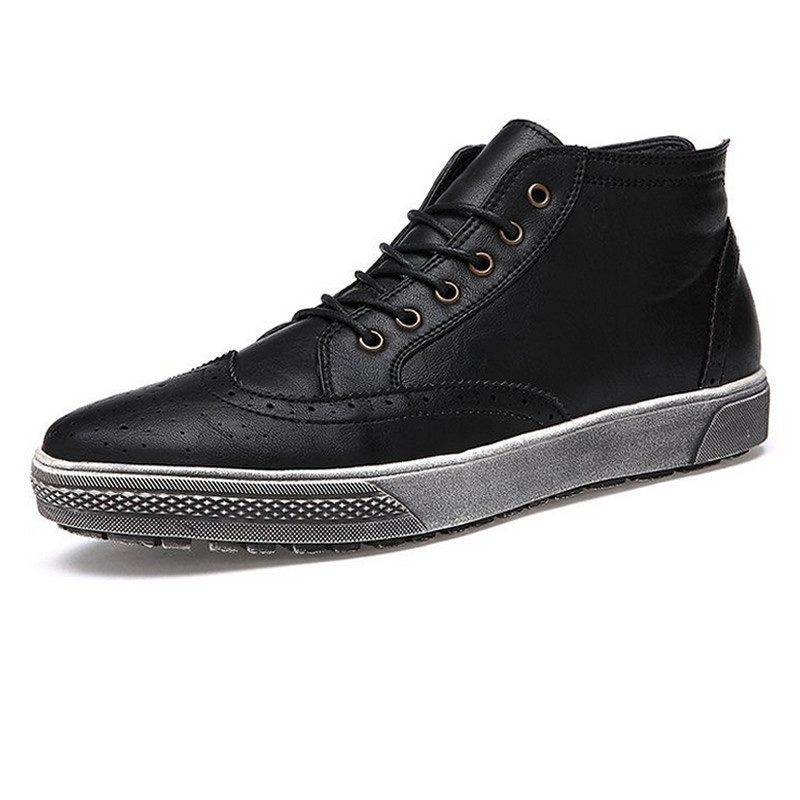 2016 Retro Men Designer Shoes High Top Lace Up Thick Sole Flat Shoes Black Leather Male