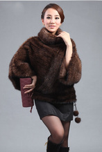 Genuine real natural Knitted Mink Fur coat Poncho Clothing Women's Winter Warm knit  Jacket Plus Size EMS Free shipping