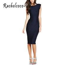 Rachelcoco 2016 Yeni Hanım OL Kalem Elbise Kolsuz Yuvarlak Boyun Siyah Tüm Maç Vestidos Ofis Bayanlar Için