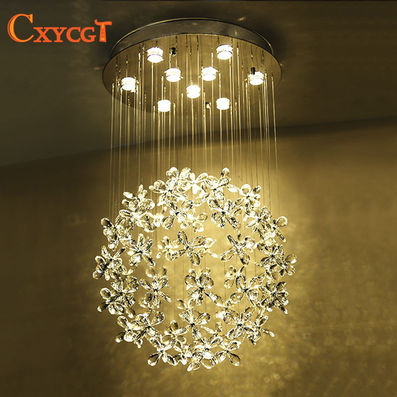 Flower Crystal Chandelier Light lustres de cristal Modern Lighting Fixture for Indoor Decoration AC110V~240V modern led crystal pendant lamp dandelion chandelier light fixture for dining room bedroom lustres de cristal ac110v 240v