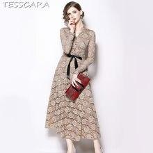 56a922df0 TESSCARA mujeres elegante encaje vestido de fiesta mujer alta calidad  Vintage Retro diseñador Vestidos casuales Oficina