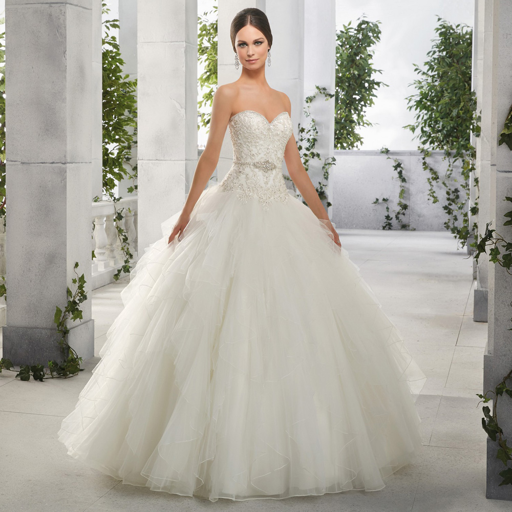 Ruffle Ball Gown Wedding Dress: Beautiful Ruffles Ball Gown Wedding Dress Beading Sequined