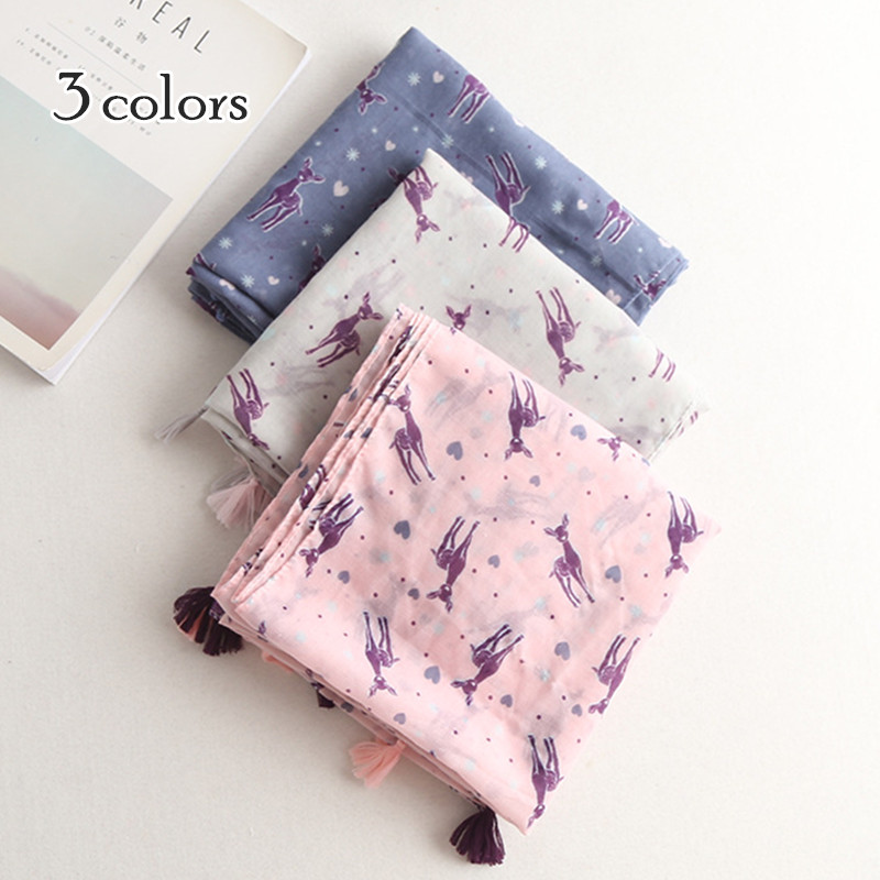 3 color Popular sika deer print scarves shawls tassels scarf lovely fashion America Eupo hot sale