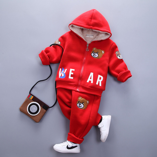 2016 winter boys clothing set kids hooded zipper cartoon bear printed fleece thick hoodies and pants toddler warm clothes 1-3T