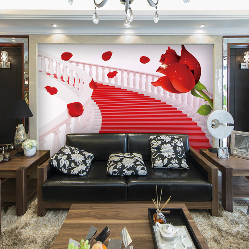 Customized large mural 3D wallpaper 3d perspective minimalist living room sofa roses decorated bedroom 3D wallpaper TV backdrop beibehang customize universe star large mural bedroom living room tv background wallpaper minimalist 3d sky ceiling wallpaper