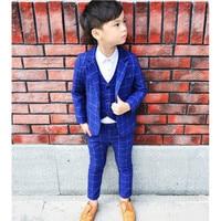 Boys Suits for Weddings Boy Party Blazers Suits Plaid 3pcs/Coat+Vest+Pants Boys Birthday Suit costume enfant garcon mariage