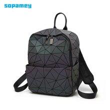 Nova mochila feminina geométrica bolsa de ombro saco escolar do estudante para adolescente holograma luminoso mochilas laser bao mochila