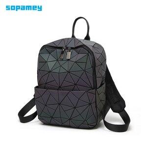 Image 1 - Sac à dos à bandoulière géométrique pour femmes, sacoche pour école pour adolescents, lumineux, sacoche Laser, nouvelle collection