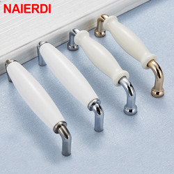 Современные технические ручки для ящиков NAIERDI из цинкового сплава, яркие хромированные дверные ручки шкафа, ручка мебели 96 мм/128 мм
