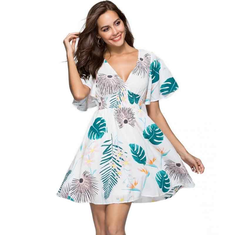 Женское мини Повседневное платье с коротким рукавом свободное глубоким v