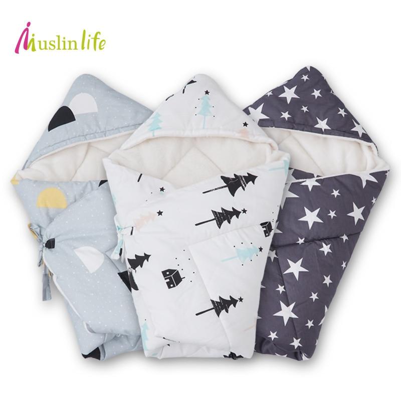 Muslinlife 90*90cm Baby Infant <font><b>Swaddle</b></font> Wrap,Thick Warm Winter Baby Blanket, Multifunctional Berber Fleece Baby Envelopes Wrap