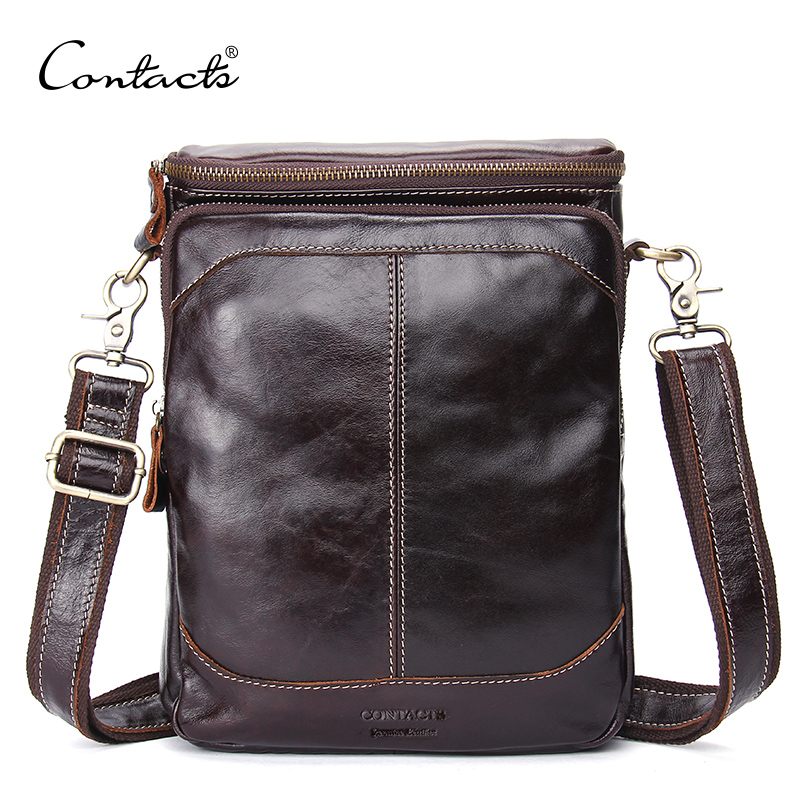 CONTACT'S Genuine Leather Men Bags Business Male Messenger Bag Luxury Designer High Quality Famous Brand Crossbody Shoulder Bag padieoe famous brand shoulder bag genuine cow leather crossbody bag classic designer messenger bag high quality male bags
