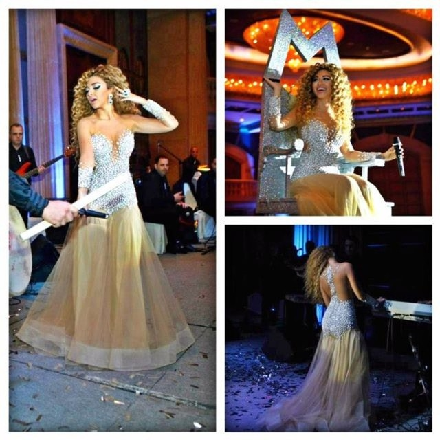 Red Carpet Dresses 2017  Mermaid Champagne Tulle Pearls Cheap Famous Imitation Arabic Singer Myriam Fares Celebrity Dresses