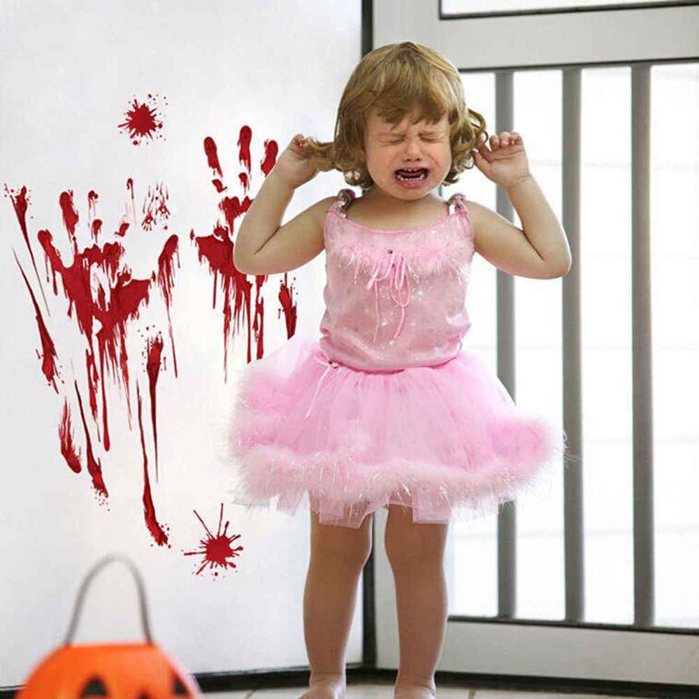 Новый красный дизайн ноги Печать окна стикер на стену для DIY Хэллоуин жуткая кровавая стена цепляется дверной, комнатный украшения для вечеринок