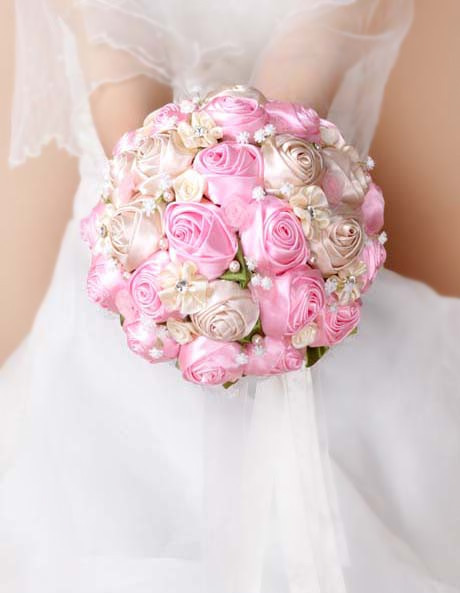 2017 Bridal Bridesmaid Wedding Bouquet Cheap New Luxury Crystal Pink Handmade Artificial Rose Flower Bridal Bouquets