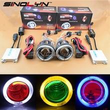 Sinolyn HID Bi-xenon Projector Lens Full Kit for Motorcycle Headlight Retrofit DIY Angel Halo Devil Demon Eyes 4300K 6000K 8000K