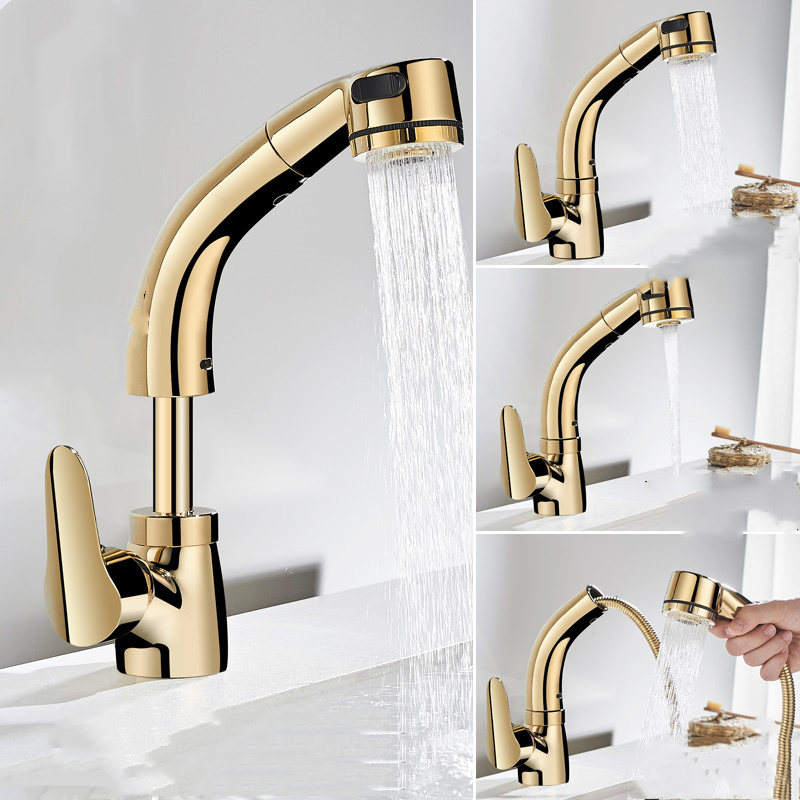 US $48.44 10% OFF|Kitchen Faucet With Shower Head Gold/Chrome/Black/White  Kitchen Sink Faucet Pull Out Sink Faucet Mixer Tap Torneira Cozinha-in  Basin ...